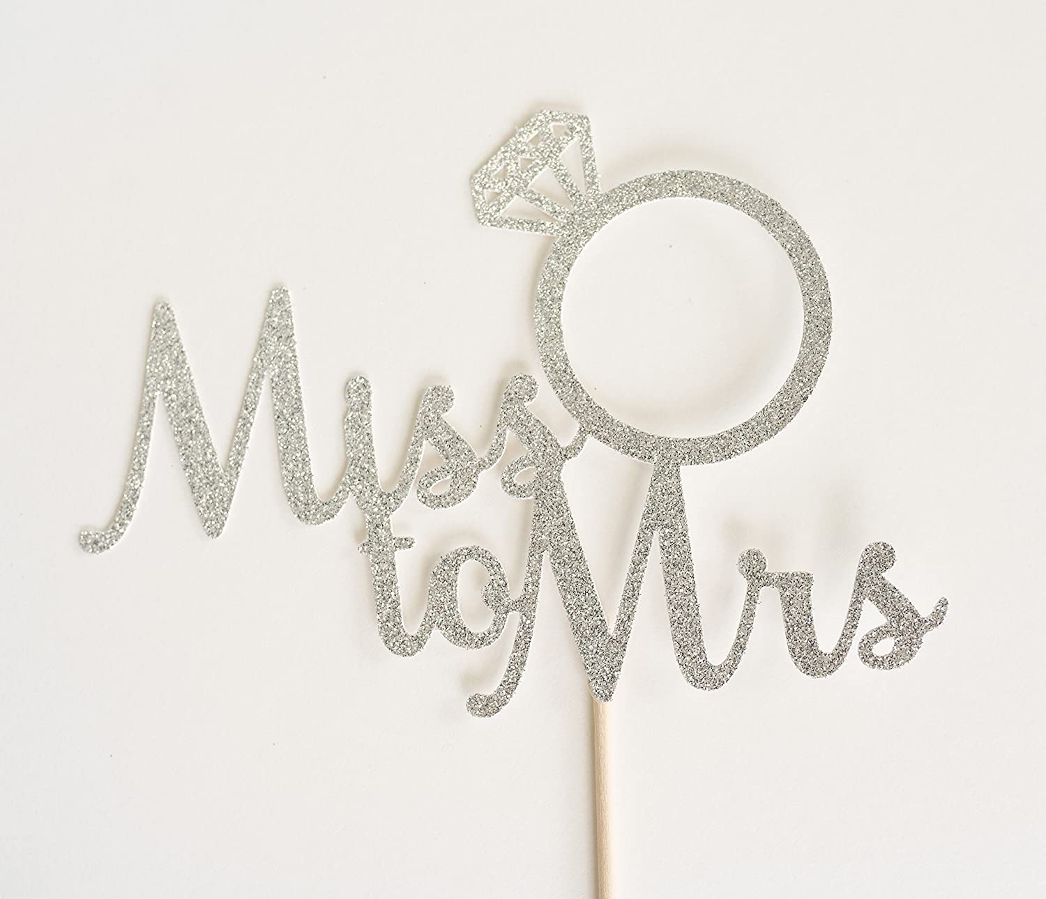 Silver Glitter Miss To Mrs Script Cake Topper, Bridal Shower, Engagement Party, Bachelorette, Stagette, Ring