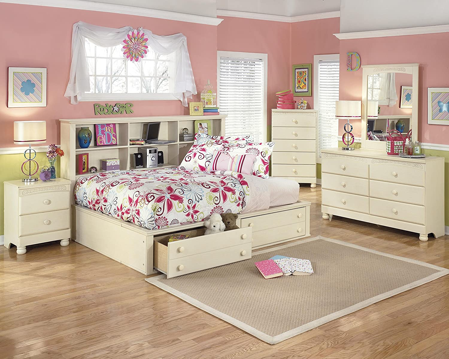 Amazon.com: Cottage Retreat Vintage Casual Full Size Bookcase Storage Bed  In Cream Finish: Kitchen U0026 Dining