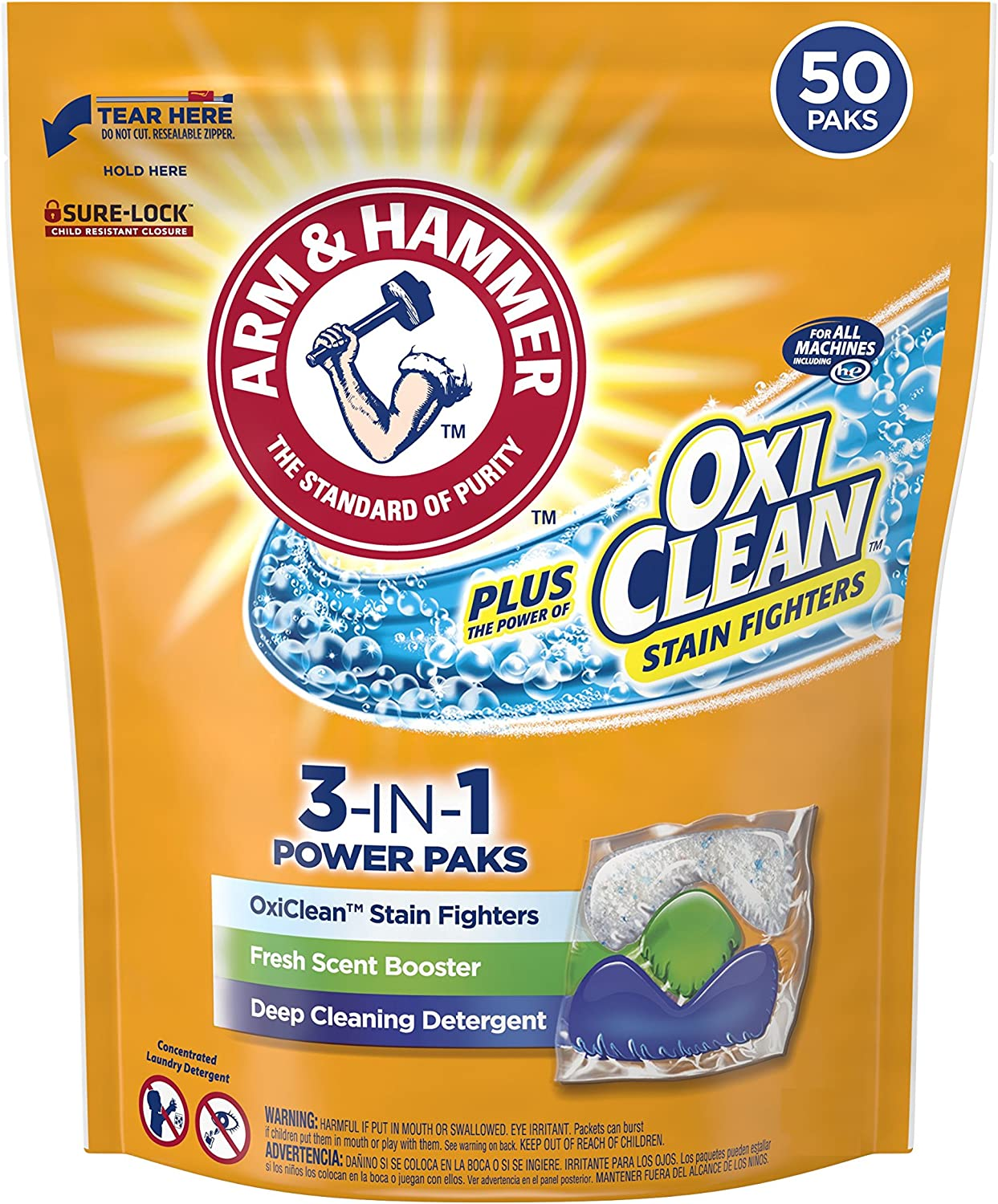 Arm & Hammer Plus OxiClean HE 3-in-1 Laundry Detergent Power Paks, 50 Count