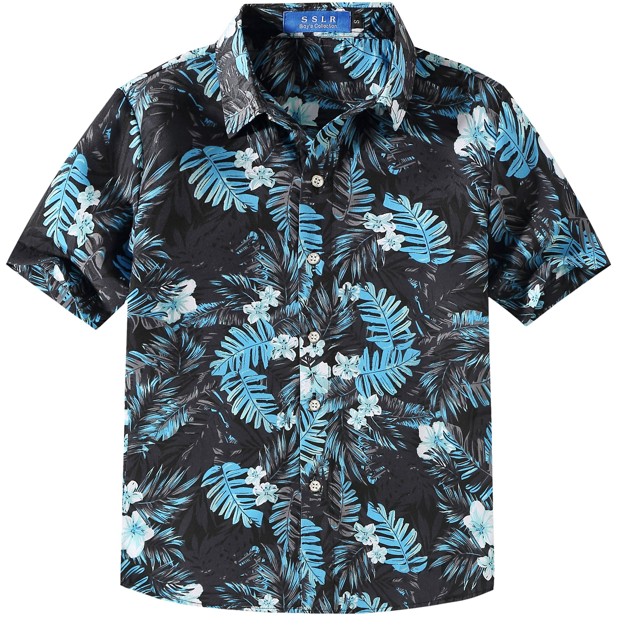 SSLR Big Boy's Summer Button Down Casual Short Sleeve Hawaiian Shirt (Large (14-16), Black Grey)