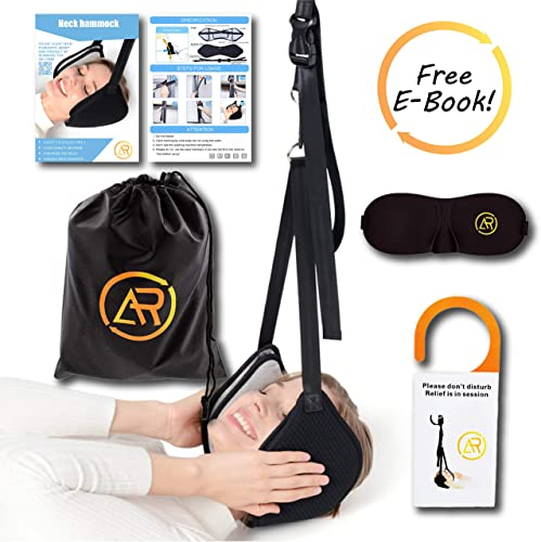 Neck Hammock, Cervical Traction Device, 2019 New Head Hammock Relief Pain TENSIONS from Shoulder Muscles for Relaxation and Good Physical Therapy Stretcher Adjustable Straps Included Free E-Book