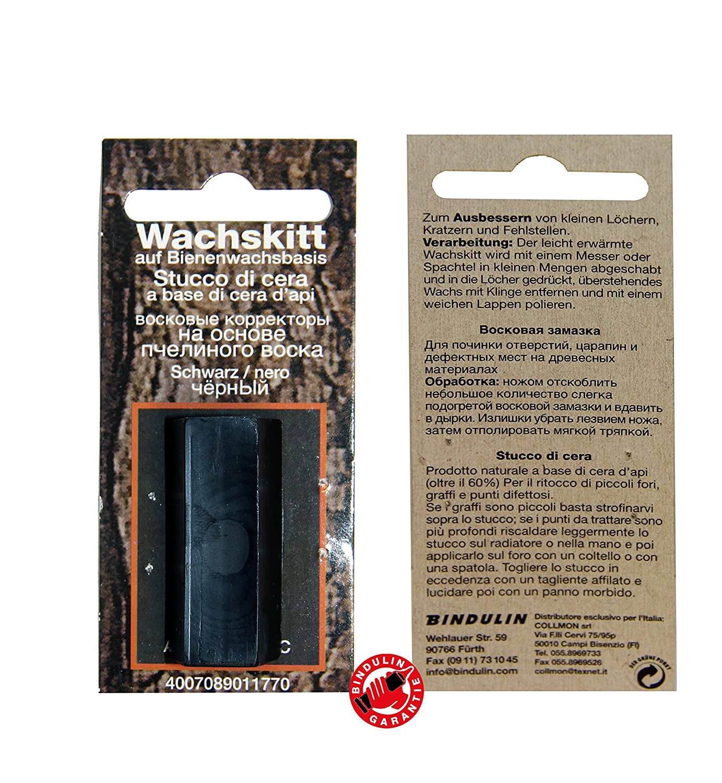 Cire Mastic Tringle teck 7 g de Bindulin –  Noir de schwarzfarbenes Mastic pour cire de ré paration de meubles en bois meubles en plastique sur base cire d'abeille pour trous les rayures erreur, Couleur: black 7 g