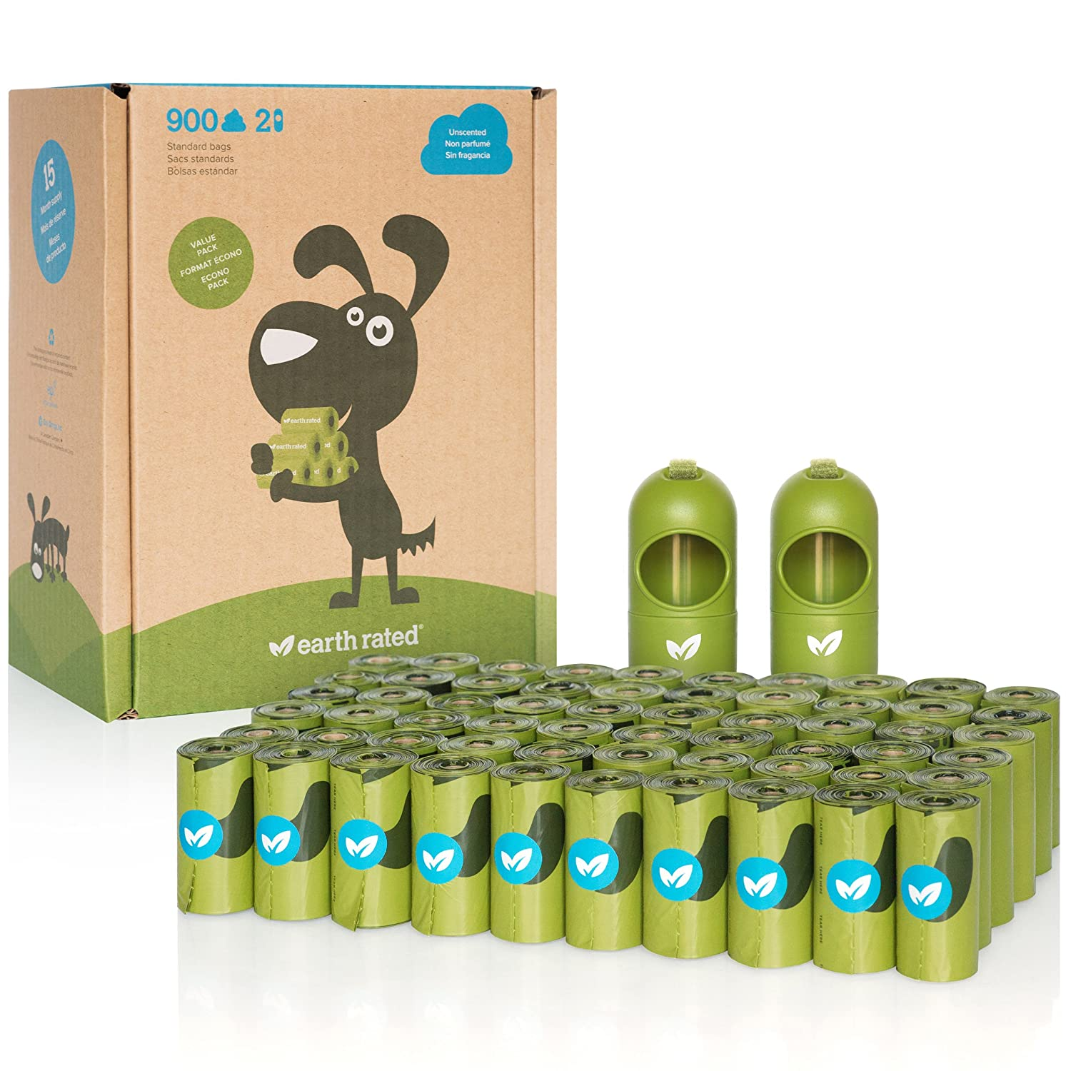 Earth Rated DISPGREEN - Dispensador para bolsas de residuos para perros con 15 bolsas biodegradables de popa y lavanda 708001