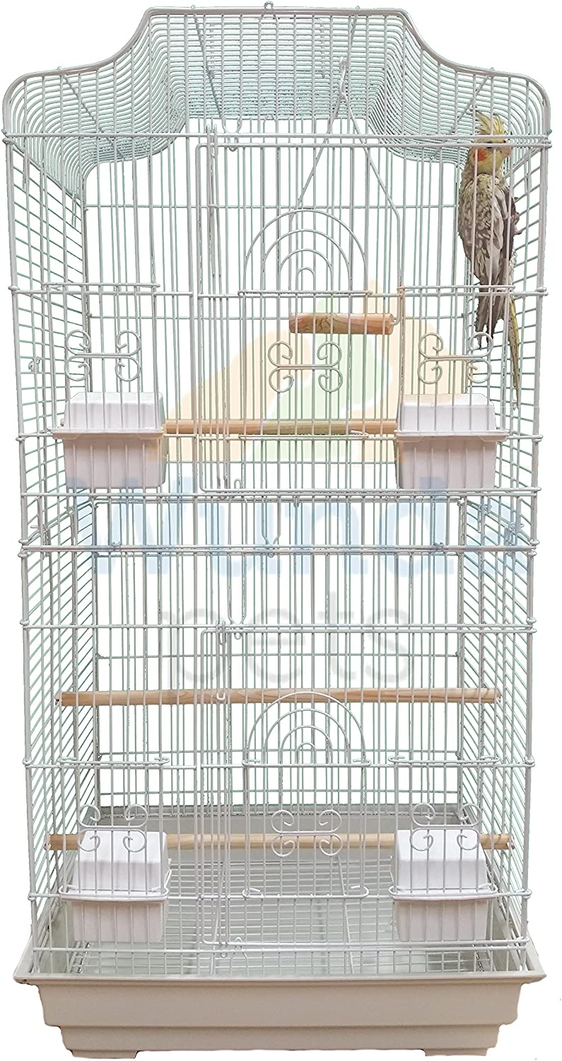 Cockatiel Easipet Large Metal Bird Cage for Budgie Lovebirds etc White