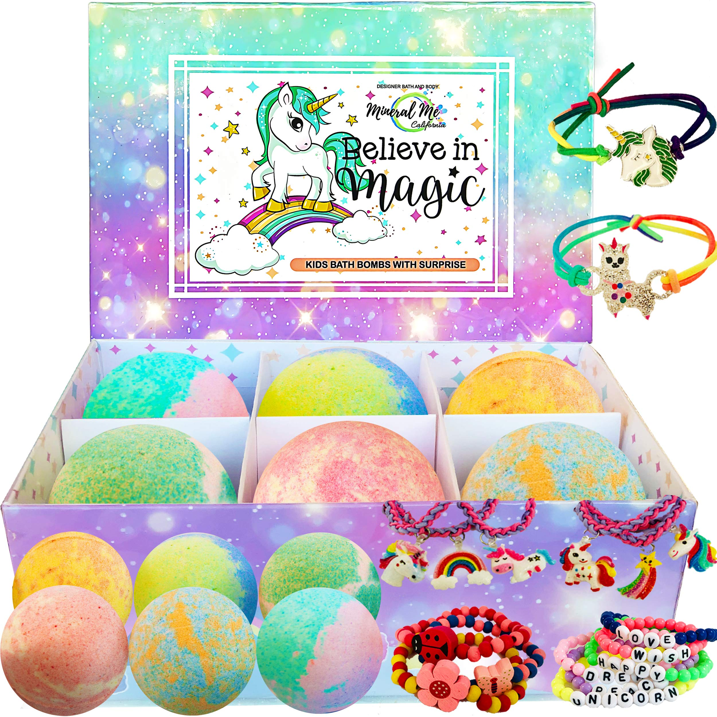 Unicorn Bath Bombs for Girls with Jewelry Inside Plus Jewelry Box for Kids. - All Natural and Organic with Skin moisturizing Shea Butter. Gentle and Kid Safe Bubble Bath Fizzies with Surprise Toys.