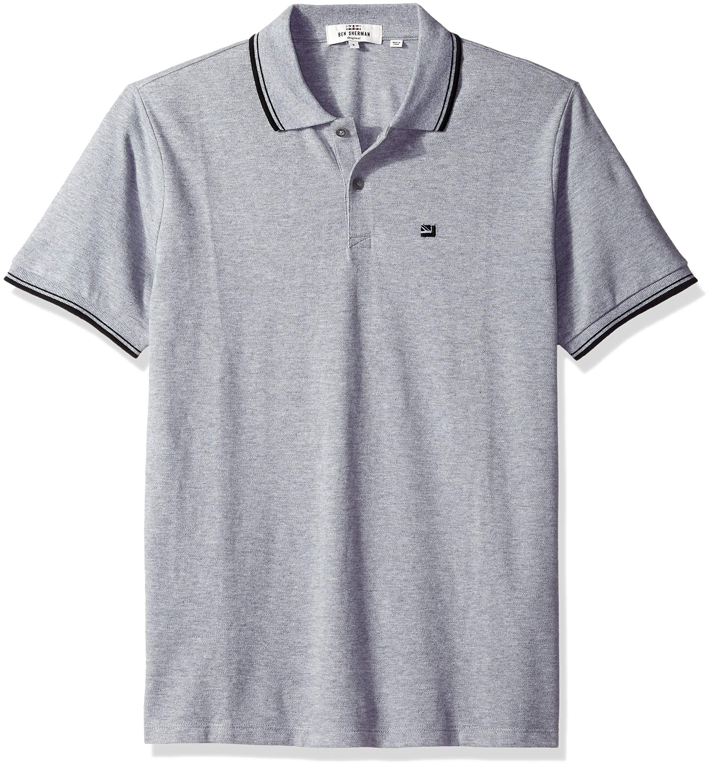 Ben Sherman Men's Romford Polo Shirt, Grey, XL