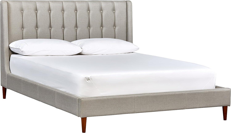 "Amazon Brand – Rivet Hillmoor Mid-Century Queen Bed with Headboard, 66""W, Light Gray"