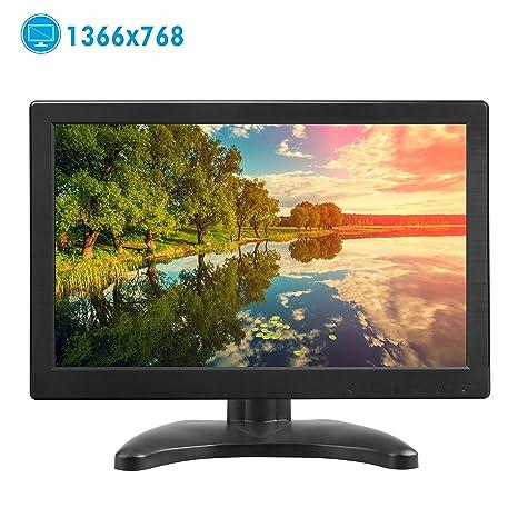 TOGUARD Pantalla 12 Pulgadas PC Monitor Full HD TFT LCD 1366x768 Entrada HDMI VGA Mic 160