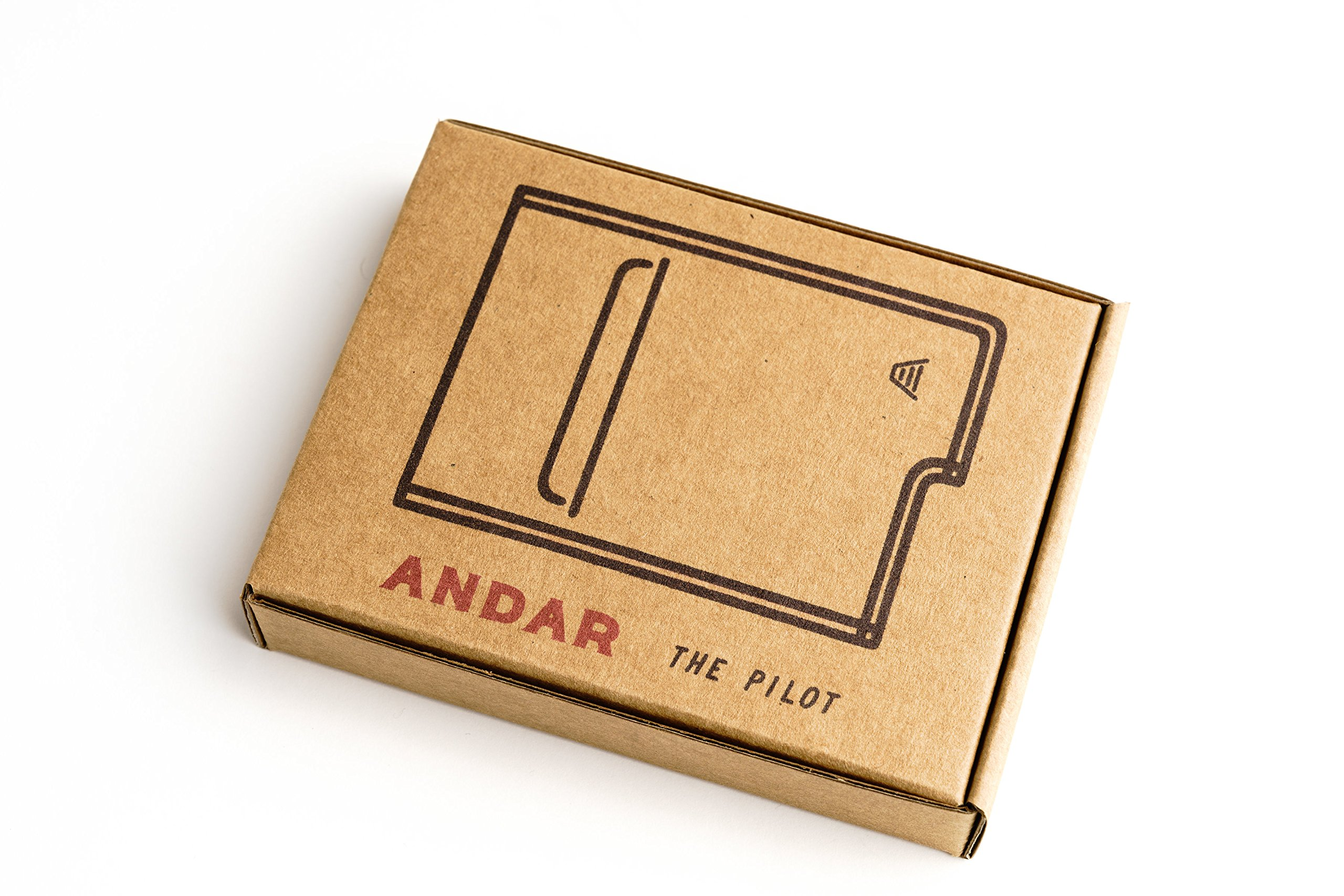 Andar Slim RFID Minimalist Card Case Full Grain Leather Wrapped - The Pilot (Saddle Brown) by Andar (Image #7)