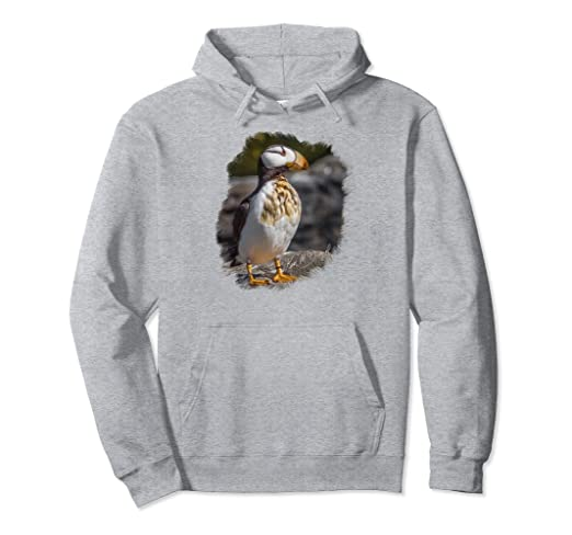 Puffin on Rocks Pullover Hoodie