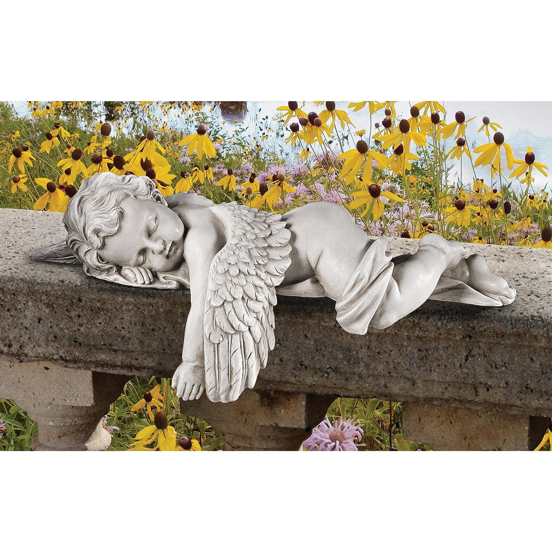Bianco 9x16.5x10 cm Design Toscano WU975192 Statuetta di Resina di Marmo con Cherubini Sonnacchiosi