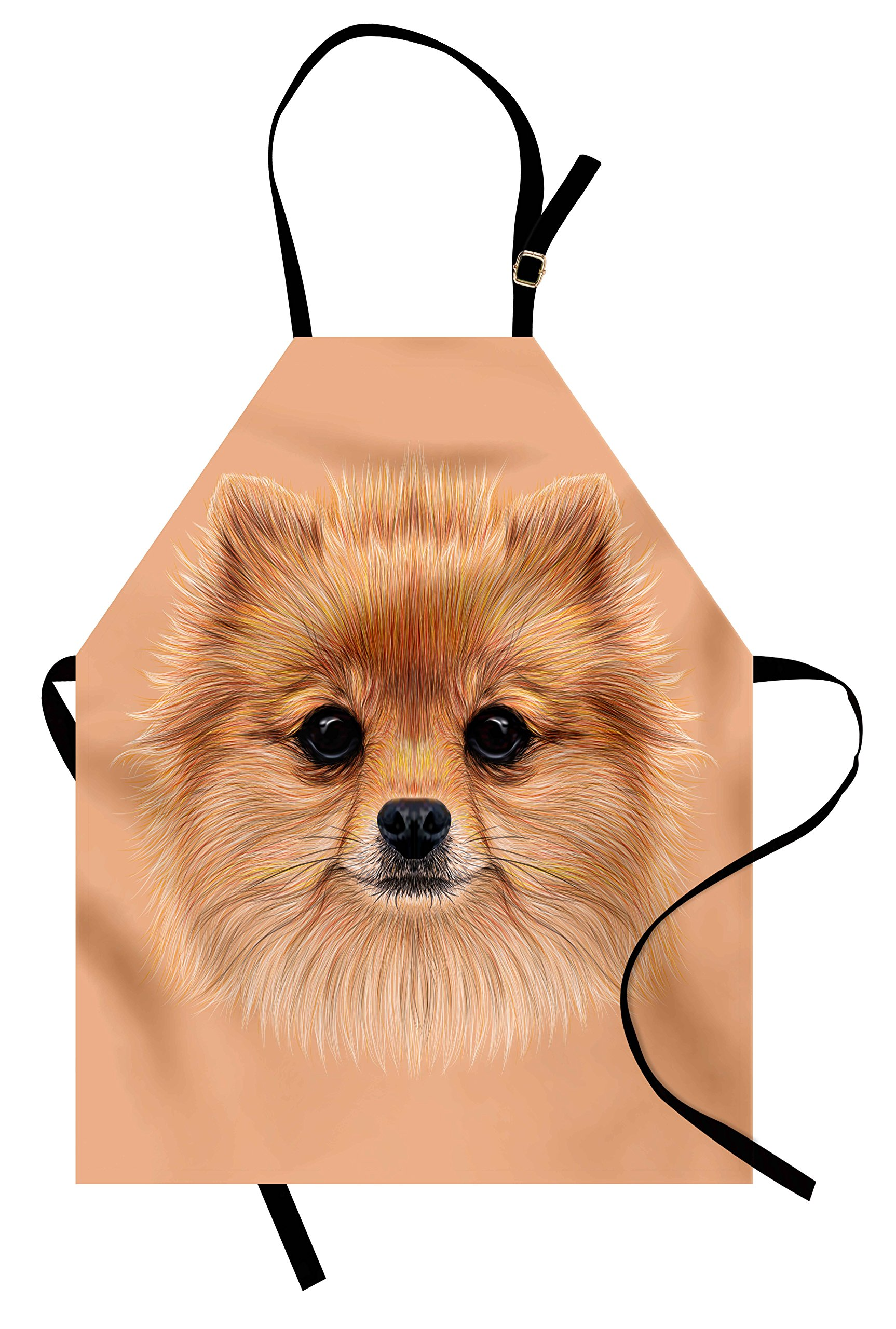 Ambesonne Animal Apron, Pomerian Dog with Vintage Retro Red Quote and Peach Colored Backdrop Poster Artwork, Unisex Kitchen Bib Apron with Adjustable Neck for Cooking Baking Gardening, Multicolor