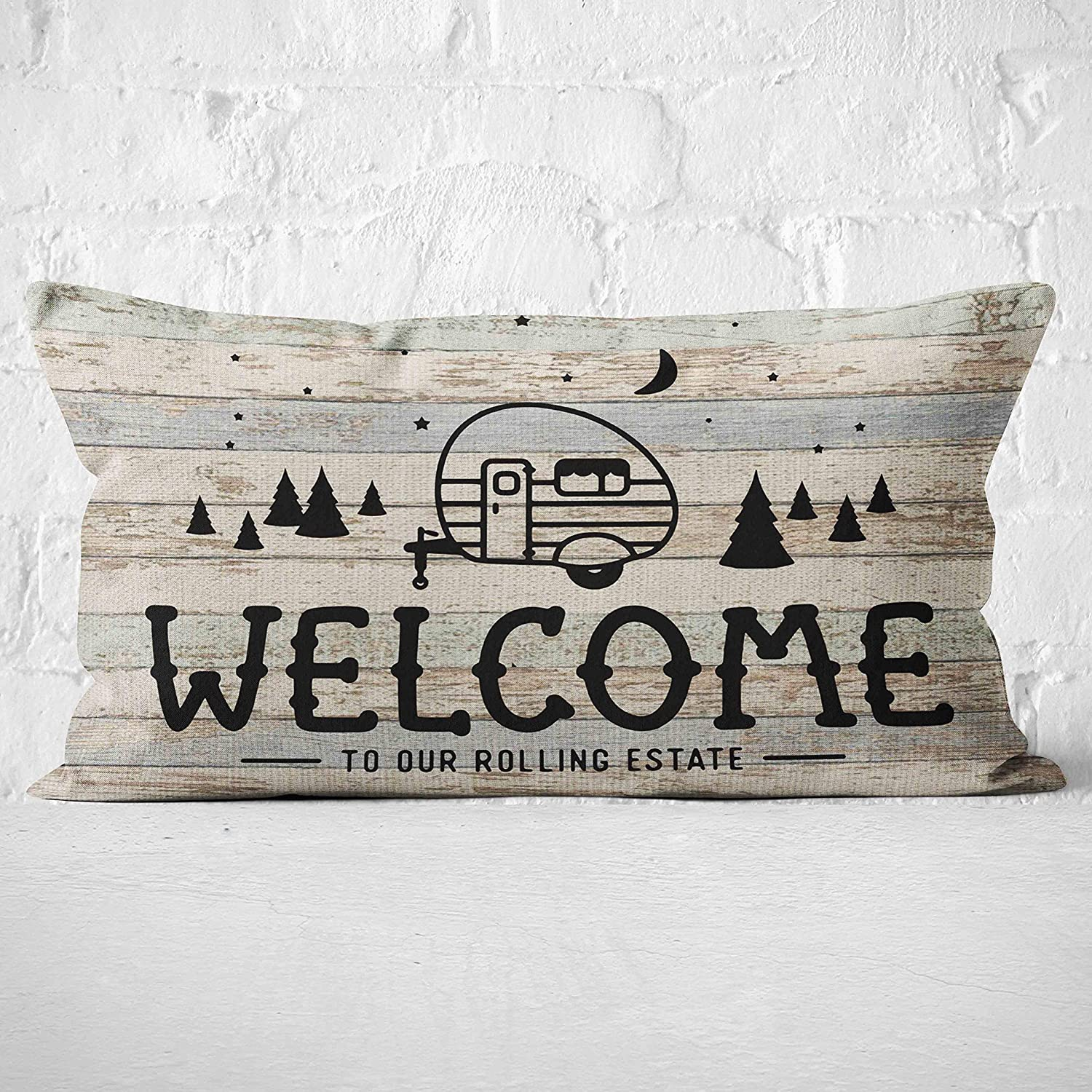Welcome to our Rolling Estate Throw Pillow Case, Campers Gifts, Camper Decor, RV Decor, Welcome Lumbar Decorative, 20 x 12 Inch RV Trailer Decorative Linen Cushion Cover for Sofa Couch Bed