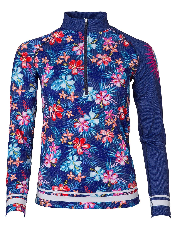 FreiSein Langarm Funktions-Shirt Base-Layer mit Stehkragen und Reißverschluß jeansanmutung Hawaii Blume Gondel Freedesign (Damen)