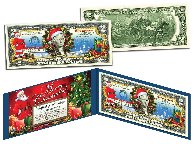 Amazon.com : MERRY CHRISTMAS Colorized $2 Bill U.S. Legal Tender ...