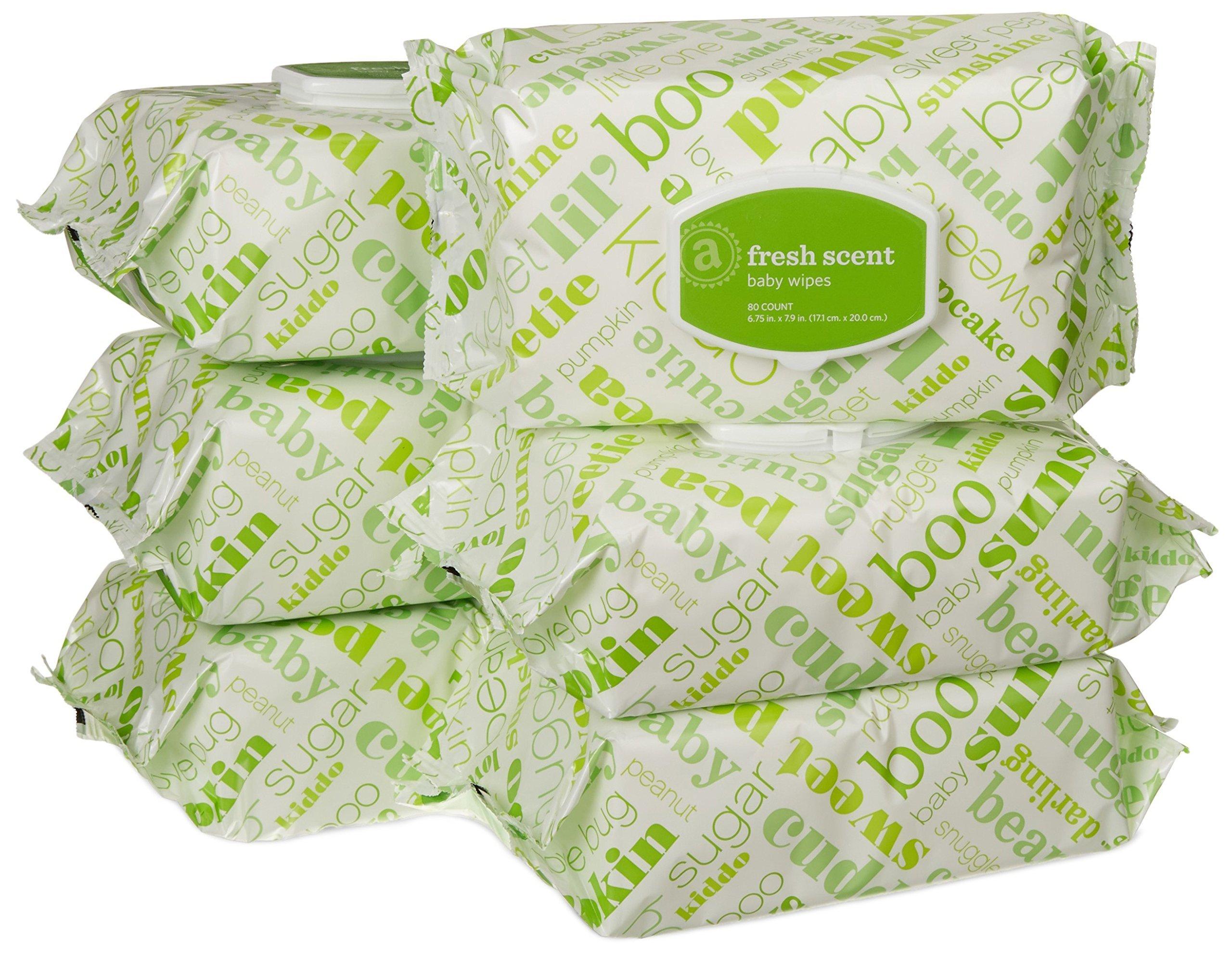 Amazon Elements Baby Wipes, Fresh Scent, 480 Count, Flip-Top Packs