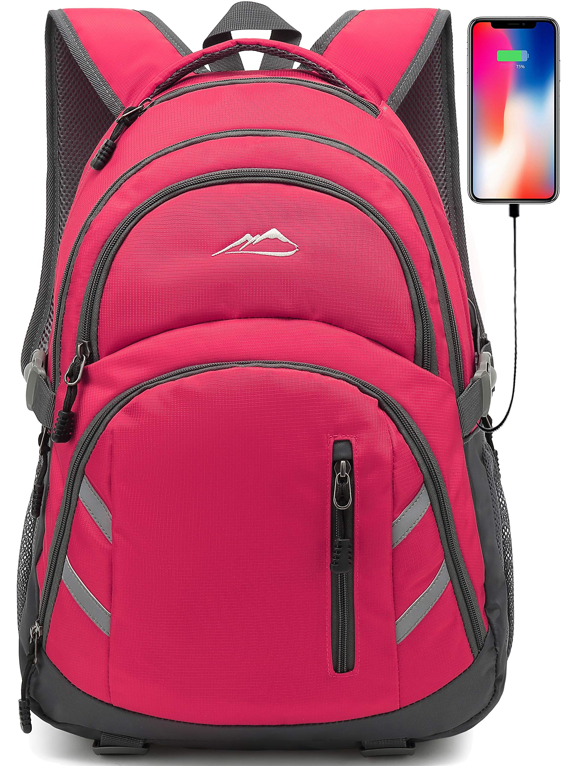 Backpack Bookbag for School College Student Laptop Travel Business with USB Charging Port Laptop Compartment Luggage Straps Anti theft Night Light Reflective (Pink) by ProEtrade