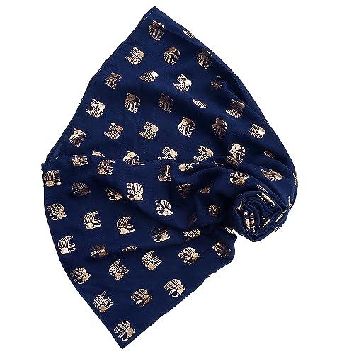 Isabelle Boutique - Set de bufanda, gorro y guantes - para mujer Negro azul marino Talla única