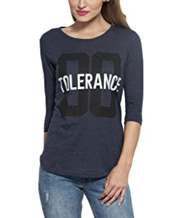 Alan Jones Women's Printed Grey Cotton T-Shirt (WM-TOLRNCE-XL_X-Large_navy Melange)