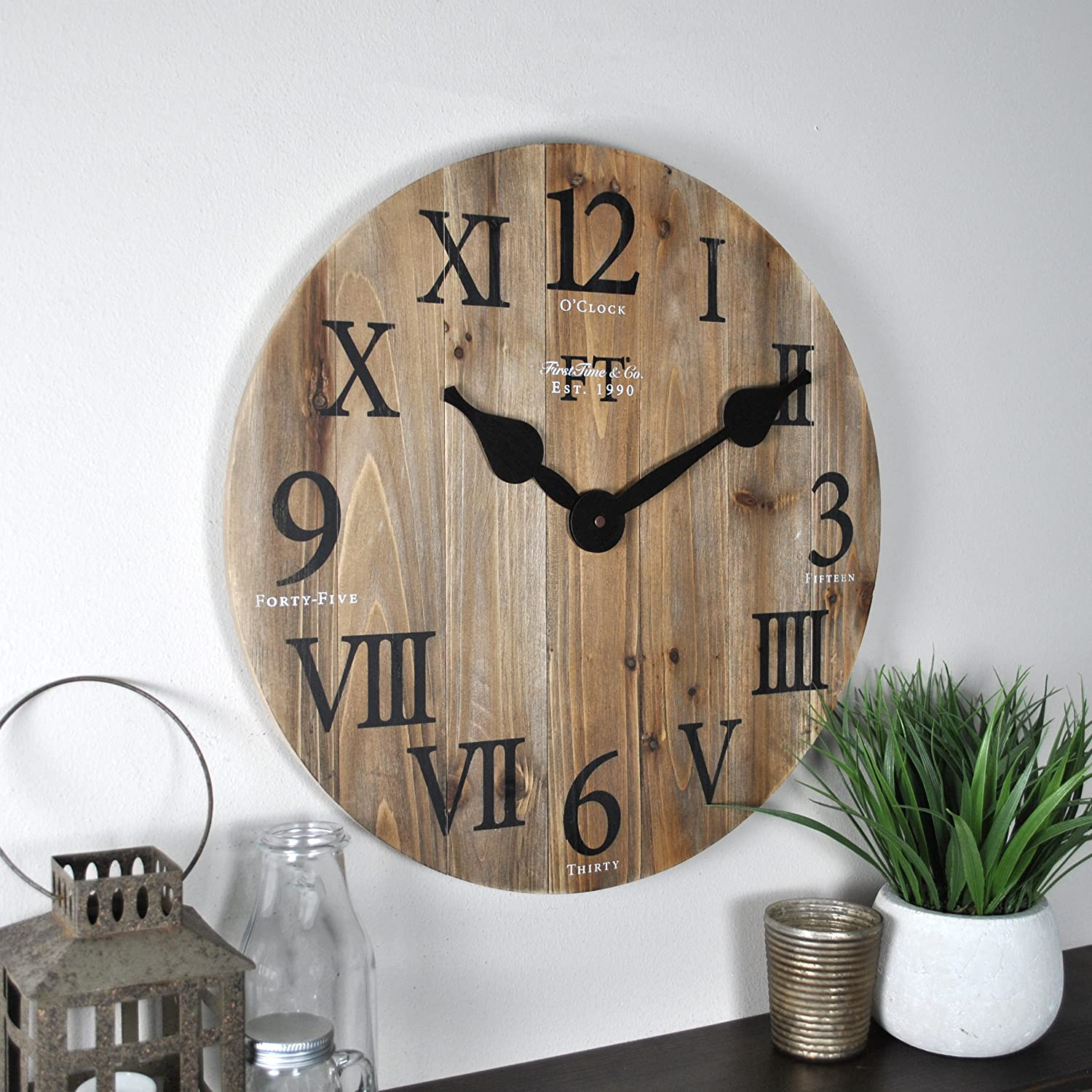 """FirsTime & Co. Rustic Barn Wall Clock, 18"""", Natural Wood"""