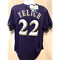 $299 » Christian Yelich Milwaukee Brewers Signed Autograph Majestic Jersey Blue Steiner Sports Certified