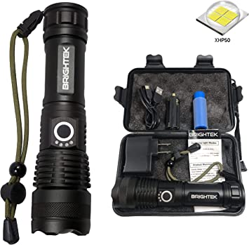 80000LM Zoomable XHP50 5Modes XHP70 LED Flashlight Torch Rechargeable Waterproof