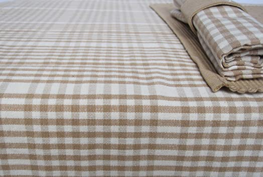 Natural 100% Cotton Gingham Tablecloth 130cm X 180cm