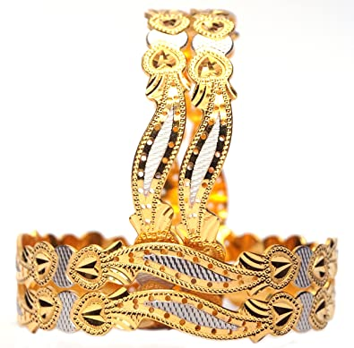 1f85a80ac03 JJ Bangles 1 Gram Gold Plated Golden and Silver Heart Embossed Designed  Bangles Set of 4