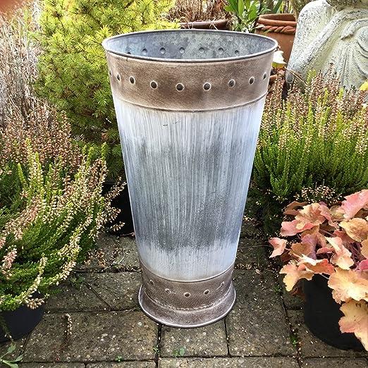 Macetero de metal grande para jardín, redondo, estilo vintage antiguo: Amazon.es: Jardín