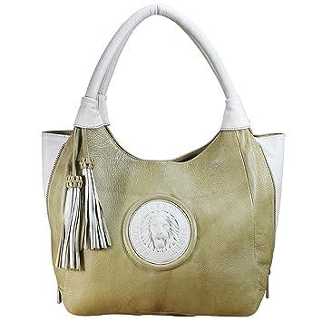 bbabd62e0b51d FERETI Schultertasche Zweifarbig Damen Leder Tasche Echt Handtasche Nude  Zwei Farbig Löwe Neu Tan Business Designer