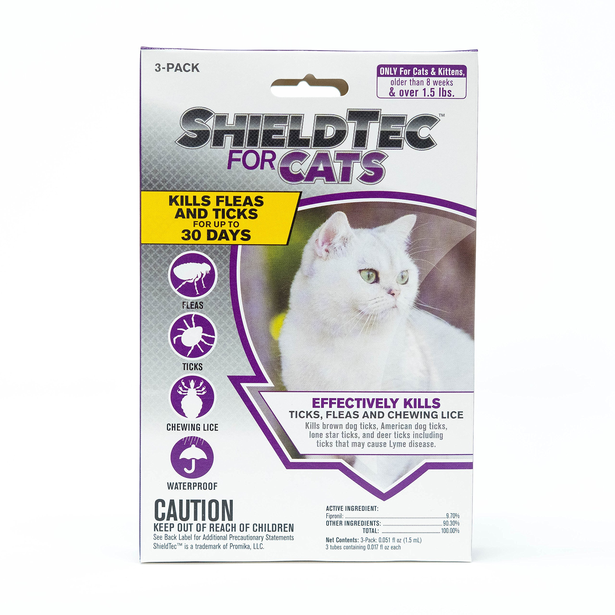 ShieldTec Flea Tick and Lice Prevention for Cats,3 Months Protection, Over 1.5 lbs