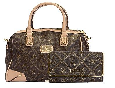067ddc091d364 Halal-Wear Giulia Pieralli Damen Handtasche Geldbörse SET Tasche  Henkeltasche Braun 2622B + G001