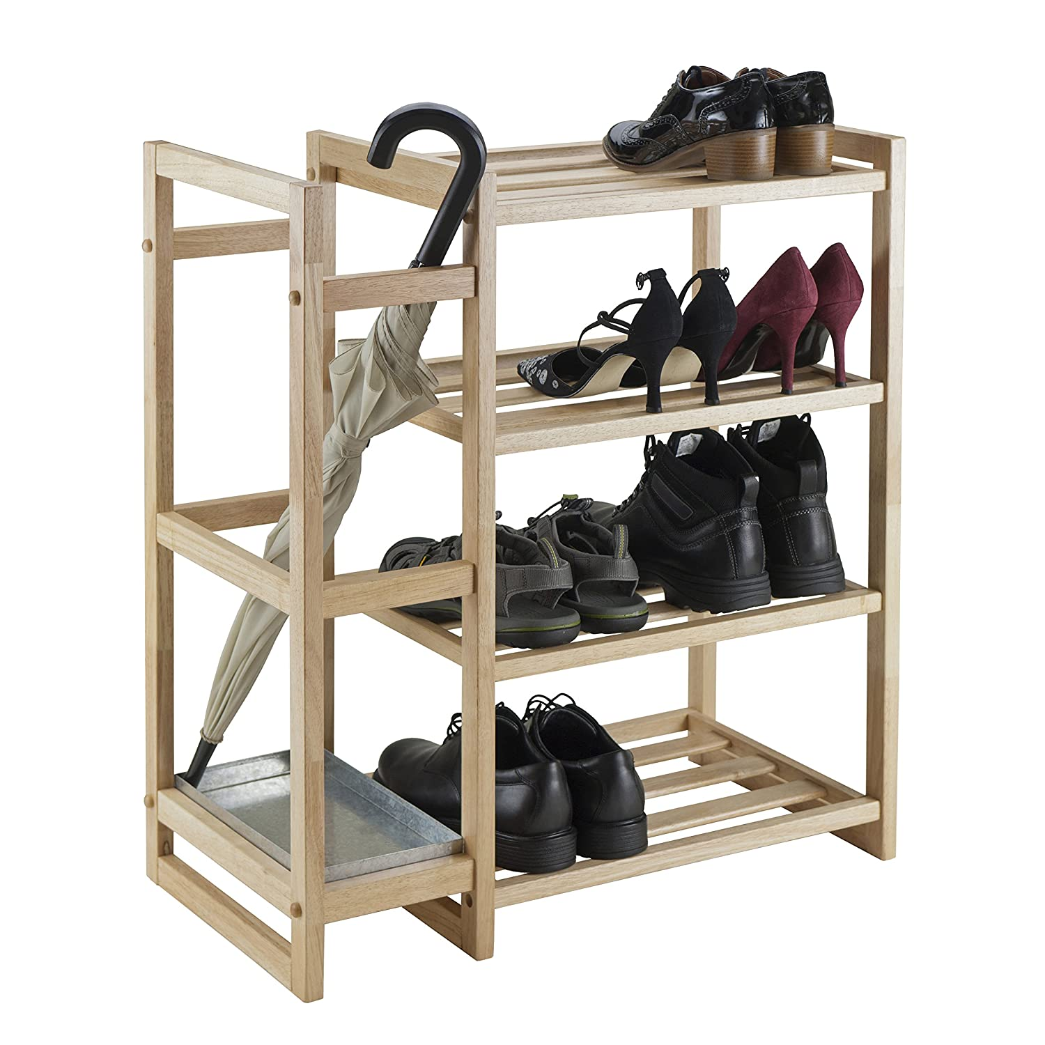 amazoncom winsome wood isabel shoe rack with umbrella stand and tray black finish home u0026 kitchen