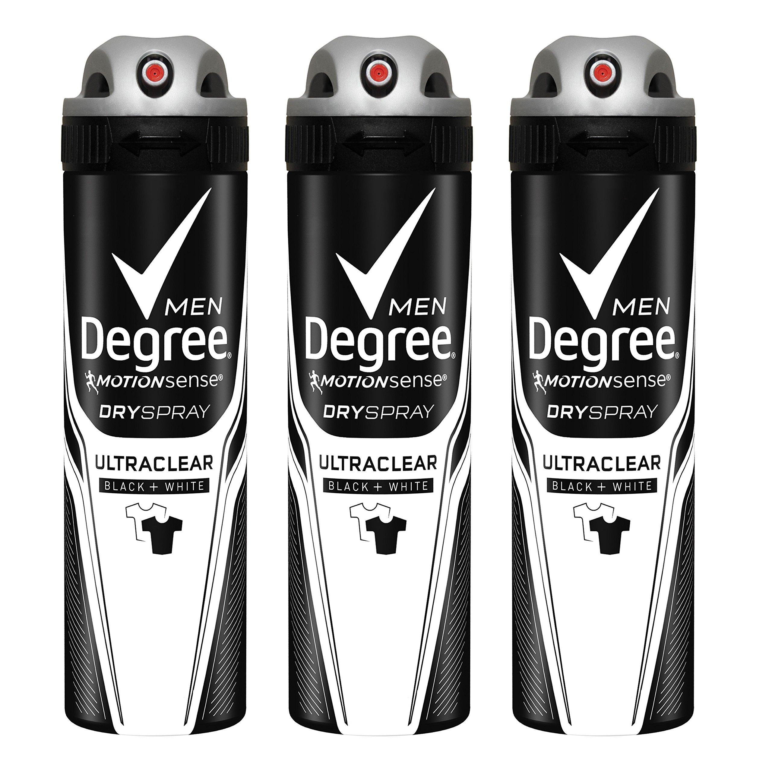 Degree Men MotionSense Antiperspirant Deodorant Dry Spray, UltraClear Black+White, 3.8 oz, Pack of 3