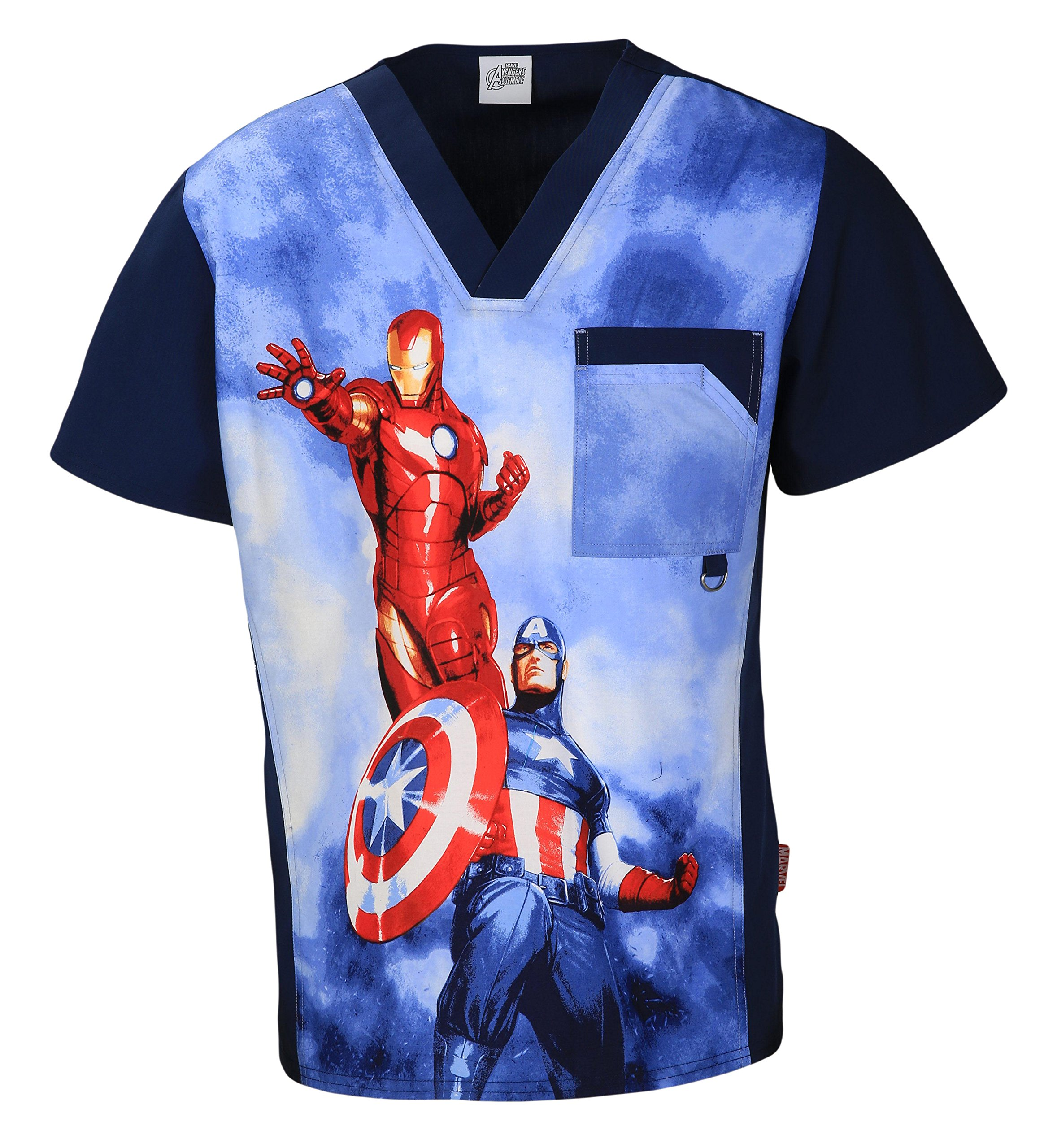 6788CB MAHE L Cherokee Tooniforms Uniform Men's Scrub V-Neck Top Heroes Marvel