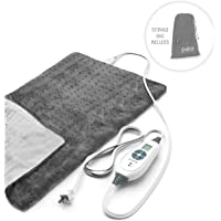"Pure Enrichment PureRelief XL King Size Heating Pad (Charcoal Gray) - Fast-Heating Machine-Washable Pad - 6 Temperature Settings, Moist Heat Therapy Option, Auto Shut-Off and Storage Bag - 12"" x 24"""
