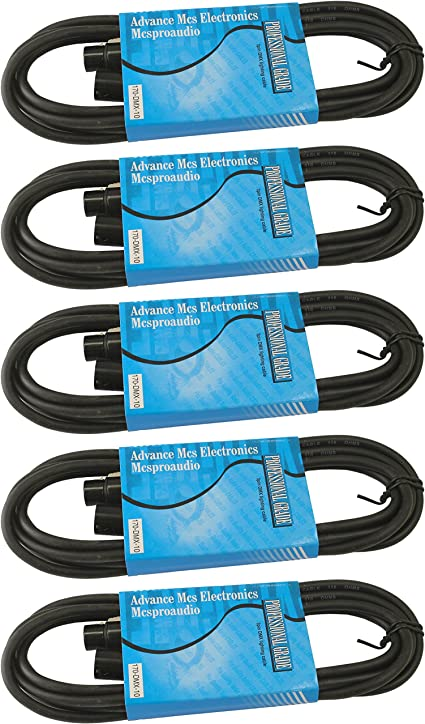 MCSPROAUDIO 110 ohm 3 Pin DMX Lighting Cable 25 ft, 2 Cables