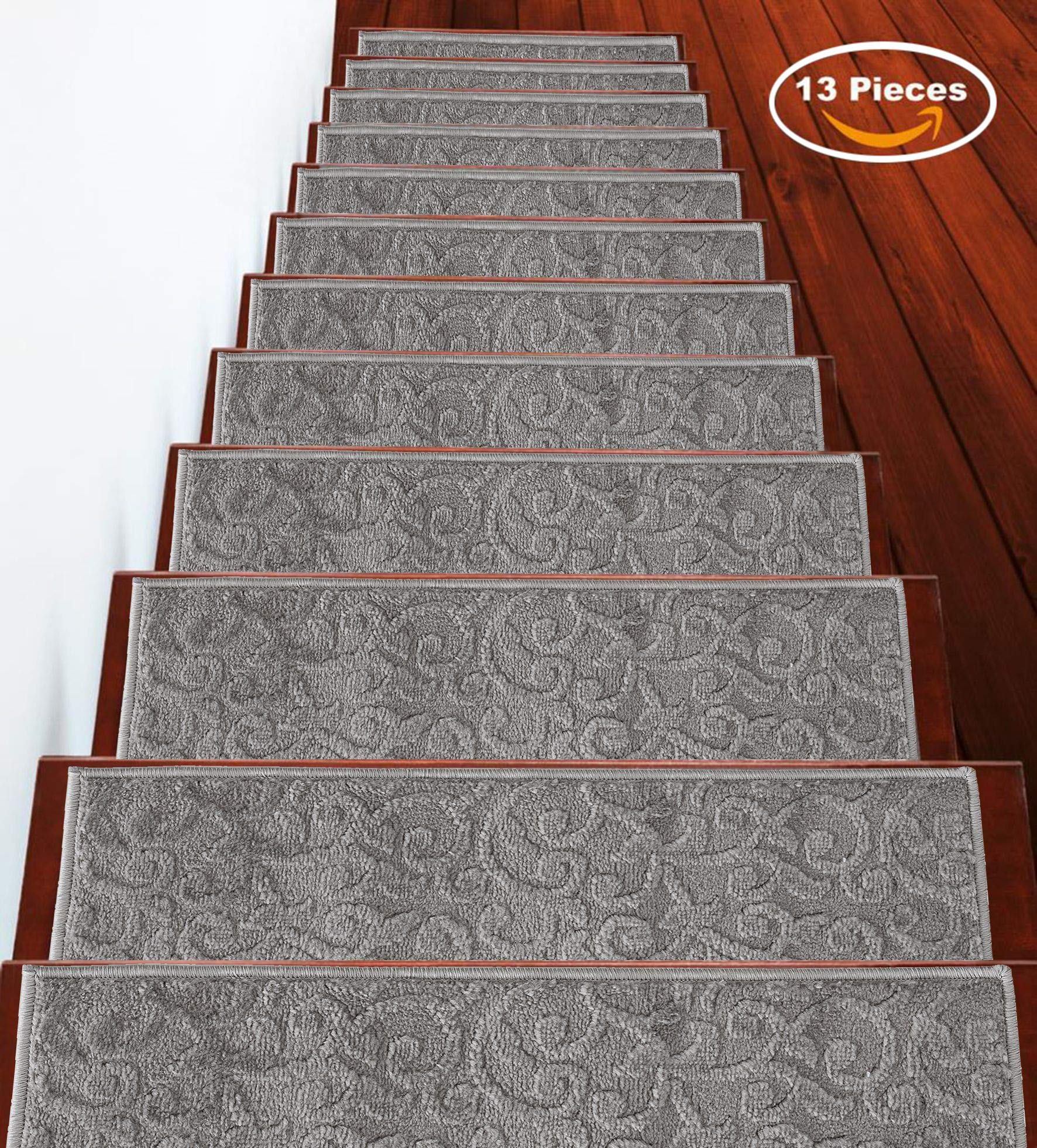 Sussexhome Stair Treads 9 inch by 28 inch by Ella's World Leaves Collection Contemporary, Cozy, Vibrant and Soft Stair Treads, Gray, Pack of 13 [100% Polypropylene] by Sussexhome