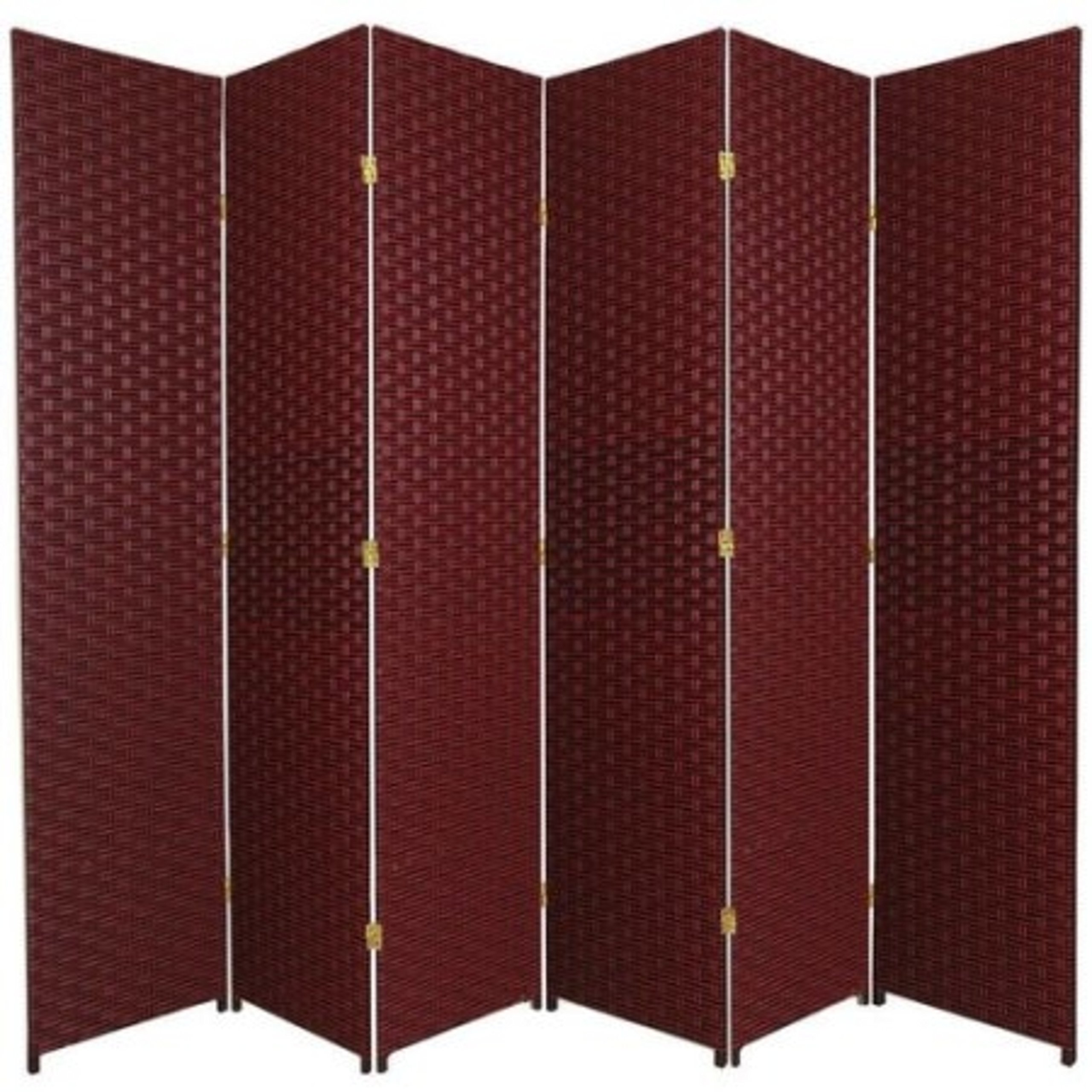 Natural Plant Fiber Woven Room Decor Red 6 Panels Divider by Roman Shade Unlimited