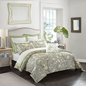 Casabolaj Camellia Collection 3 Pieces Do Not Include Filling Luxury Duvet Cover Set Light Grey Floral Botanic French Country Printed Egyptian Cotton Sateen 400 TC Button Closure Corner Ties(King)