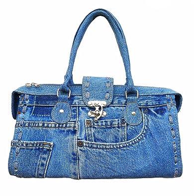 874df57bd3 BDJ Classic Blue Denim Jean Doctor Style with Hand Stitching Edge Women  Handbag  Handbags  Amazon.com