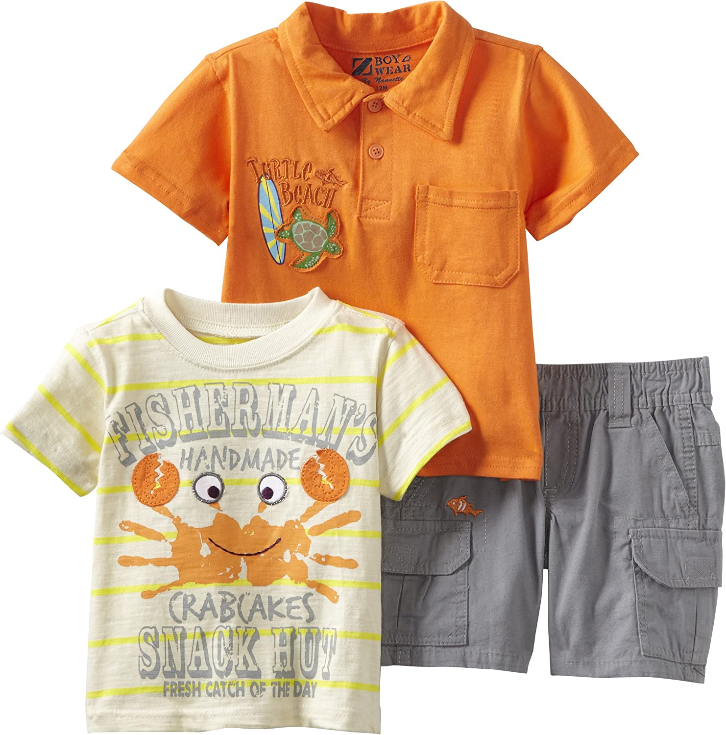 Nannette Baby Boys 3 Piece Knit Shirt Pullover and Woven Short Set