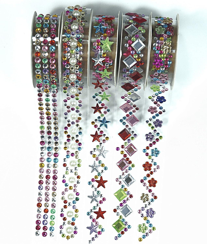 cinta washi acrílicas con diamantes y canutillos