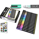 TOOLI-ART 16 Glitter Paint Pens Assorted Colors Set 0.7mm Extra Fine Tip for Rock, Canvas, Mugs, Most Surfaces. Non…
