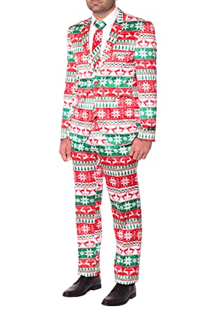 mens slim fit novelty fancy dress christmas suit costume xs red reindeer - Christmas Suits For Mens