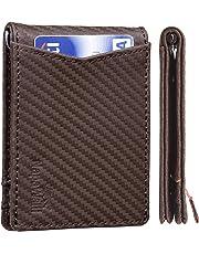 NapaWalli Genuine Leather RFID Blocking Slim Bifold Slim Minimalist Front Pocket Wallets for Men - - One Size