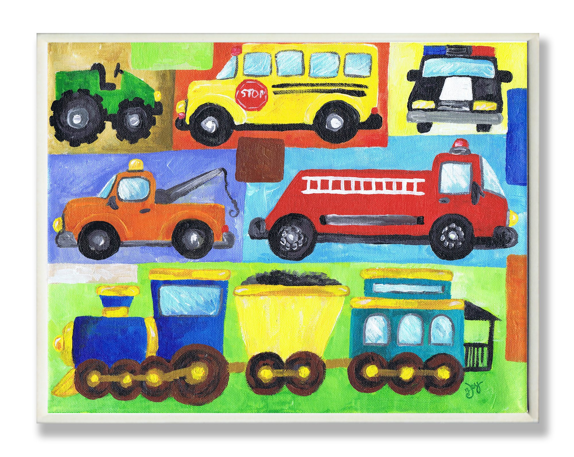 The Kids Room by Stupell Transportation Collage Oversized Rectangle Wall Plaque, 11 x 0.5 x 15, Proudly Made in USA