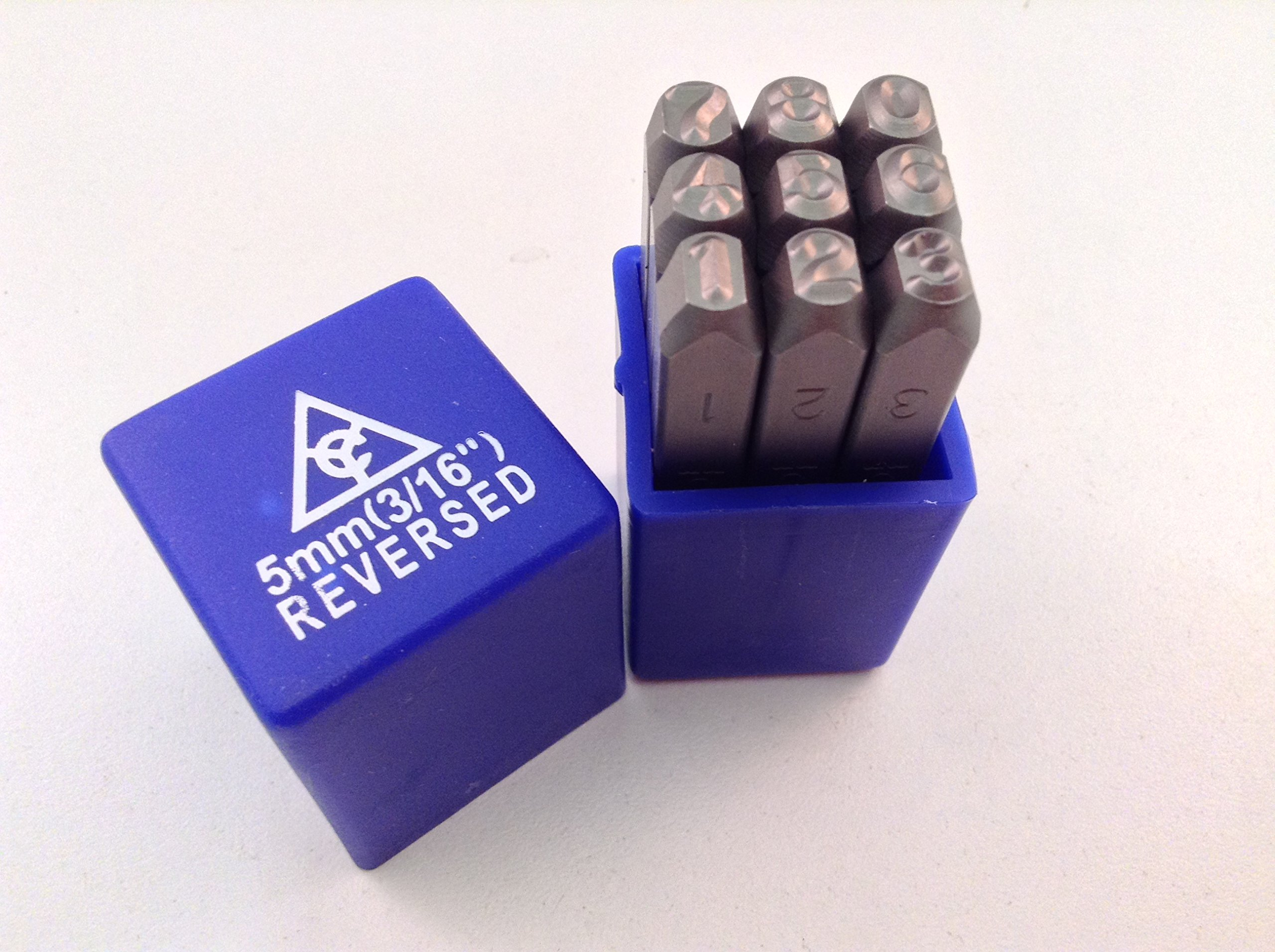 Reverse 9pc 3/16'' 5mm Steel Number Stamp Punch Die Set by AK Garage