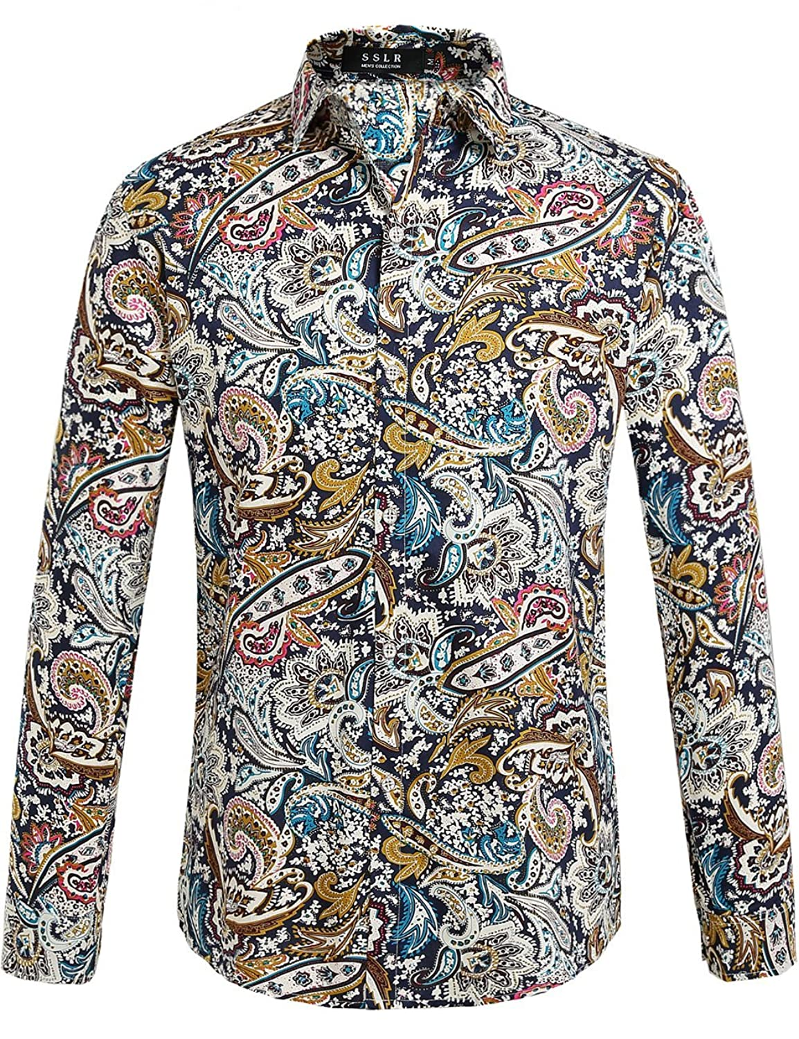 Retro Clothing for Men | Vintage Men's Fashion SSLR Mens Paisley Cotton Long Sleeve Casual Button Down Shirt $26.00 AT vintagedancer.com