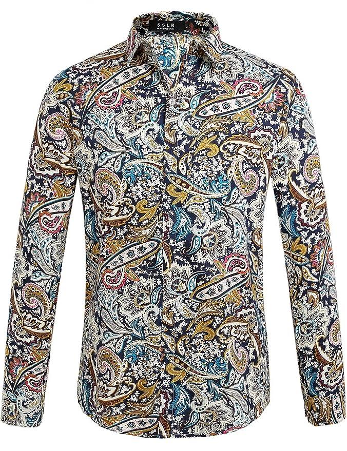 1960s – 1970s Mens Shirts- Dress, Mod, T-Shirt, Turtleneck SSLR Mens Paisley Casual Button Down Long Sleeve Shirt $26.00 AT vintagedancer.com